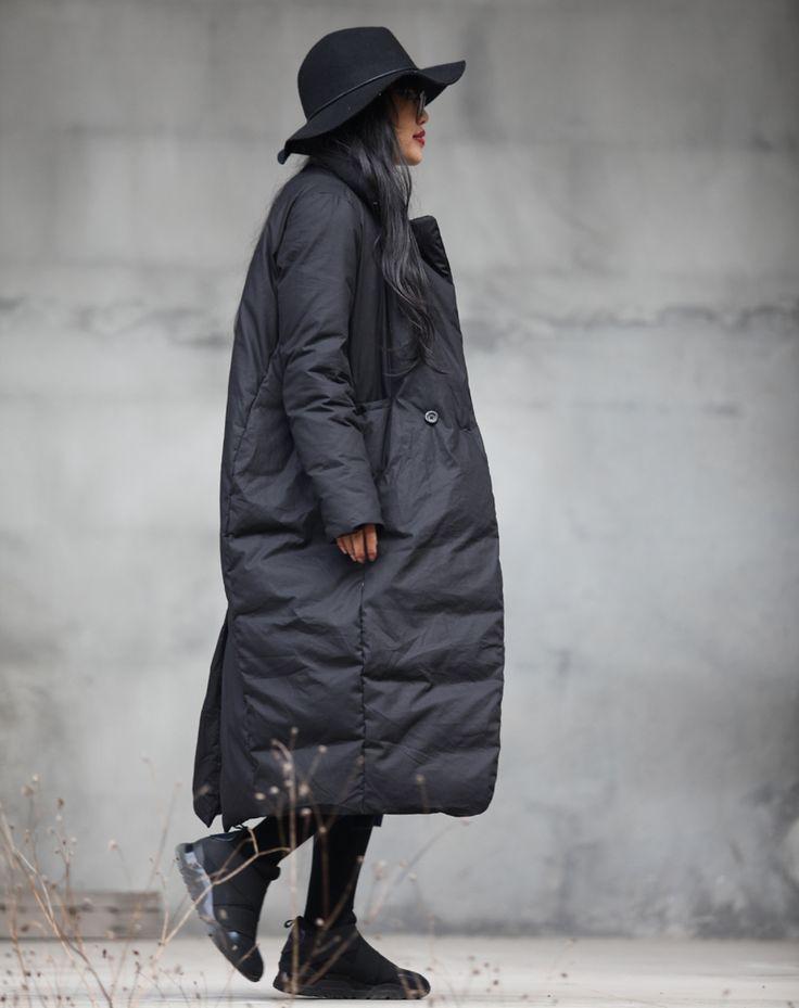 зимний свободный прямой пуховик в стиле оверсайз,пуховой плащ для европейской зимы,стильный дизайн - Fusion Mall