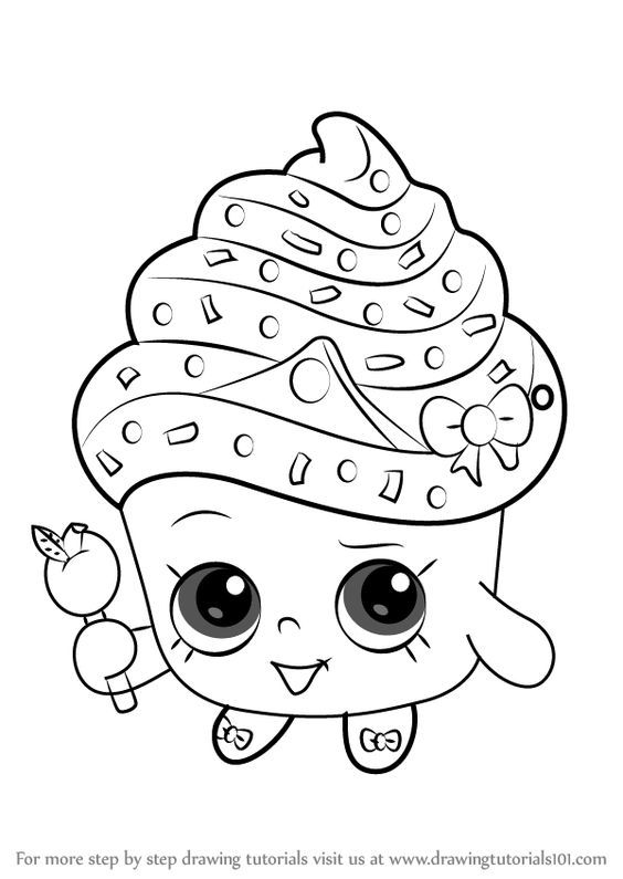 How to Draw Cupcake Queen from Shopkins ...