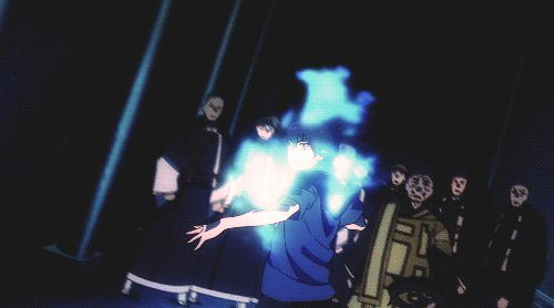 A scene from Blue Exorcist: Kyoto Saga, wherein Rin tries to teach Bon a lesson. Beautiful contrast between their powers and it's very emotionally charged.