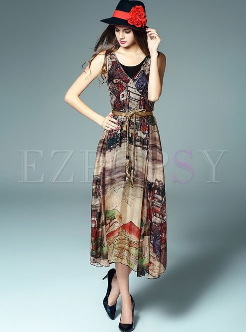Shop for high quality Long Print Silk Dress online at cheap prices and discover fashion at Ezpopsy.com