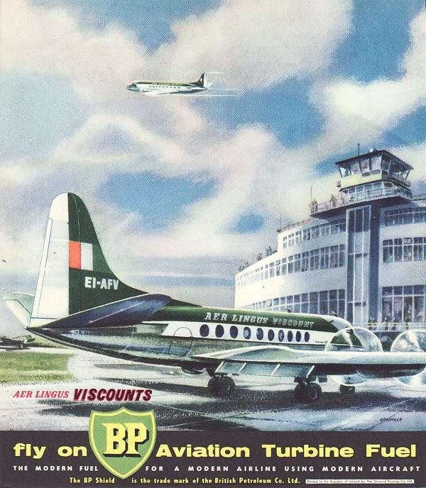 BP ad featuring Aer Lingus and the original Dublin Airport passenger terminal.