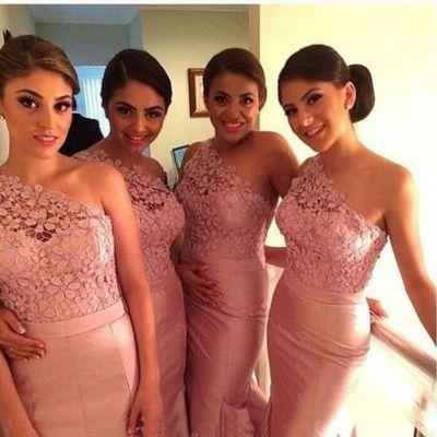 Long bridesmaid dress, one shoulder bridesmaid dress, pink bridesmaid dress, mermaid bridesmaid dress, lace bridesmaid dress,bds00031