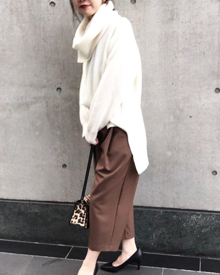 9分丈ヘリンボン クロップド丈のワイドパンツは 秋らしいブラウンがおすすめ☆ ショートブーツ合わせもかわいいですよ^^