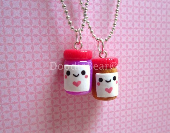 Peanut Butter & Jelly Jars Best Friends Kawaii Cute Polymer Clay  Necklace - 2 Piece Set via Etsy