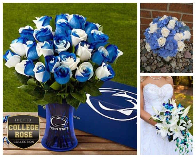 Wediquette and Parties: We Are...Getting Married- Penn State Wedding Ideas, Flower Ideas, Blue & White Color Scheme Ideas