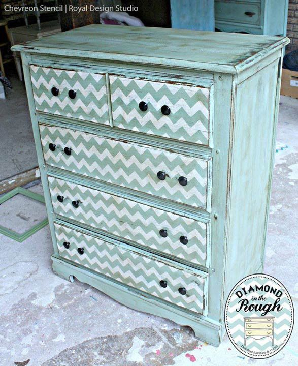 I think I know how I want to paint my office furniture, now! Chevron Furniture Stencil