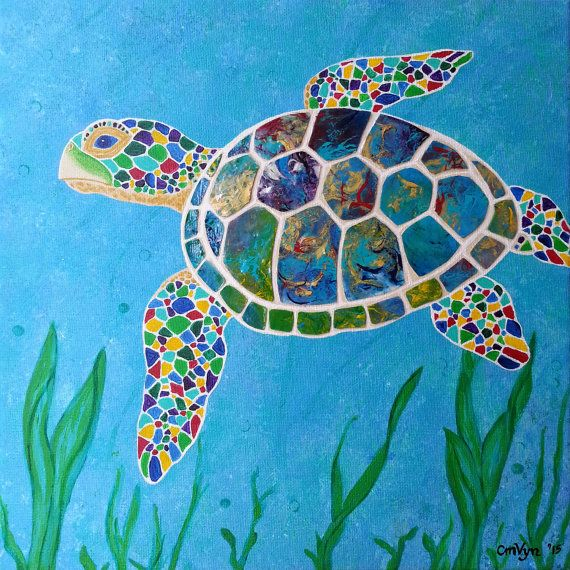 Peaceful Sea Turtle / 12x12 / Acrylic / by FruitfulVynCreations