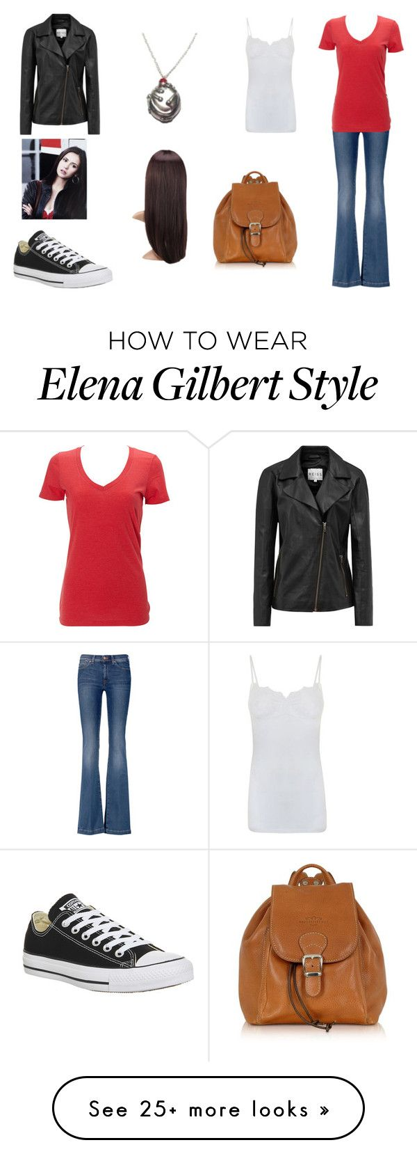 """""""Elena Gilbert"""" by teenwolfmoosic on Polyvore featuring 7 For All Mankind, Converse, Simplex Apparel, Robe di Firenze, Reiss and By Malene Birger"""