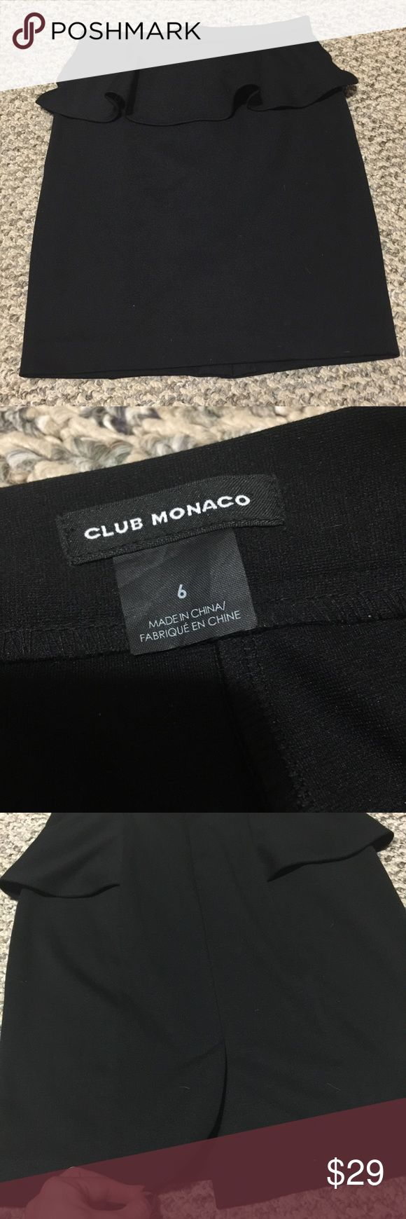 "Club Monaco Pencil peplum skirt Great for office this fall! Black peplum skirt Club Monaco . Size 6. Length 20""; hip 36 in relaxed. Stretchy material polyester/ rayon / elastane. Condition like new . Club Monaco Skirts Pencil"