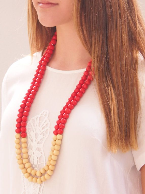 Double stranded red and cream wooden bead necklace on Etsy, $40.00 AUD