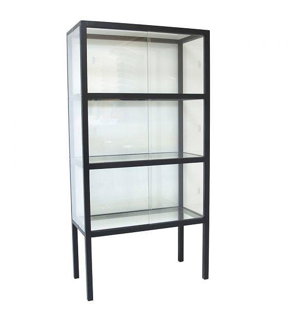 HK-living Vitrinekast glas/hout zwart 75x36x148cm - wonenmetlef.nl