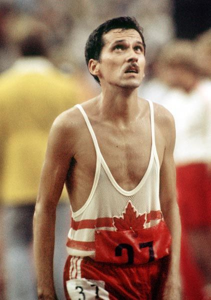 Jerome Drayton du Canada participe à une épreuve d'athlétisme aux Jeux olympiques de Montréal de 1976. (Photo PC/AOC)