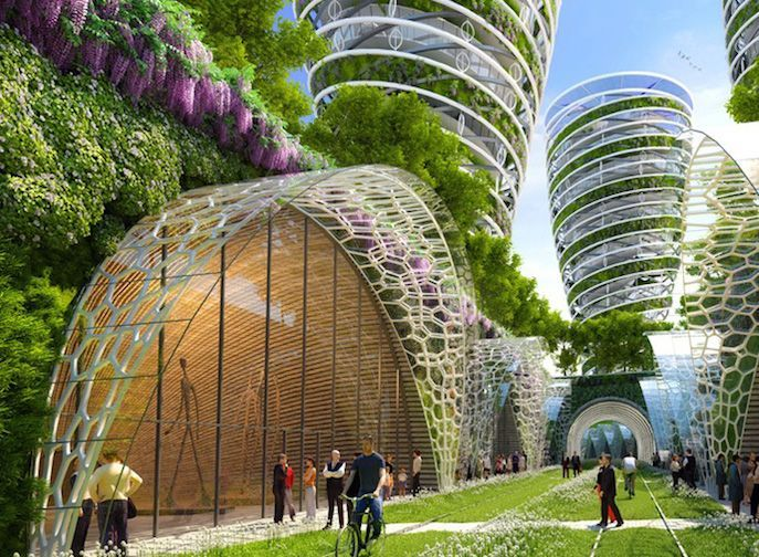 """Architect Designs Paris of 2050 as Eco-Friendly """"Smart City"""". According to architect Vincent Callebaut, the Paris of 2050 could look very different than the city we know today. The architect recently unveiled plans to transform the famous locale into a futuristic """"smart"""" city. His design is a nod to the metropolis' historical architecture as it's punctuated by flourishing, eco-friendly structures."""