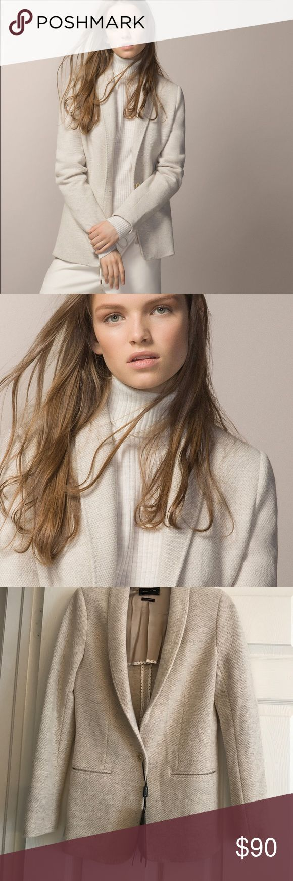 MASSIMO DUTTI LIGHT BEIGE JACKET❤️ This jacket is gorgeous Inside and Out!!! Wool blend.. beautiful colour that goes with Everything.. the interior rivals some of the best made jackets . Massimo Dutti Jackets & Coats
