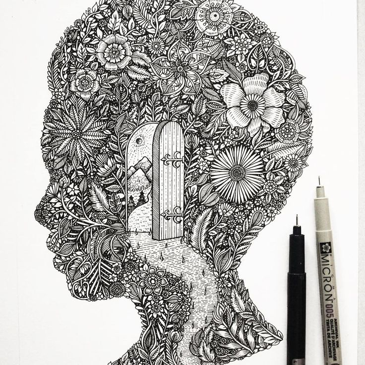 "868 curtidas, 21 comentários - © Meni Chatzipanagiotou 2017 (@menis_art) no Instagram: """"The Path"" a floral escape... 🚪//#botanical #flowers #ink #nature #arts_gallery #lines #drawing…"""