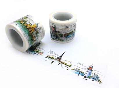 CMYK printing washi tape,village washi tape,building washi tape e-mail: sale8@packingtape.cn