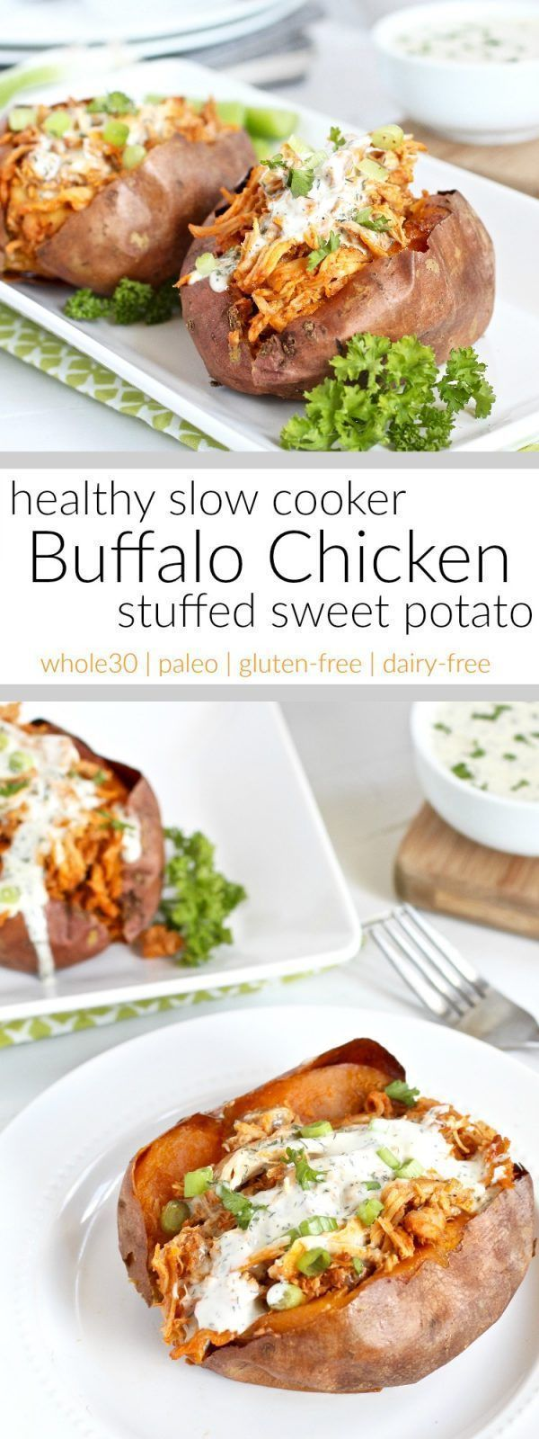 A hearty and healthy whole30-friendly slow cooker buffalo chicken that's shredded and stuffed inside of a perfectly baked or grill sweet potato. A recipe for all you buffalo chicken fans.