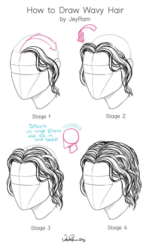 How To Draw Wavy Hair Step By Step Art Tutorial By Jeyram Jeyram Anime Drawings Sketches In 2020 Anime Drawings Sketches Drawing Sketches Sketching Tips
