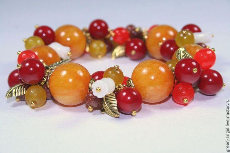 Купить Браслет «На осинке апельсинки». - рыжий, красный, желтый, апельсиновый, агат натуральный