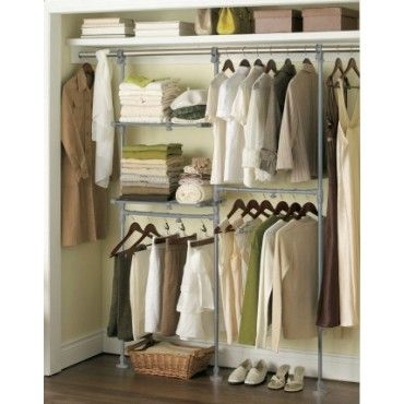 """Extend-It Custom Closet Kit  Organize any closet in minutes  Increases usable space by 40%  Attaches to existing closet rod  Fits 3'-8' closets  Adjustable height: 60"""" to 72""""  No tools required  Adjustable & expandable system        Kit consists of:   3 vertical poles   2 horizontal rods   2 expandable shelves"""