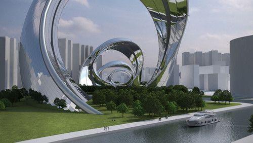 futuristic architecture Sity Shangai Structure Sonik Module