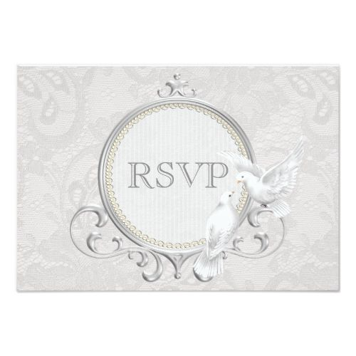 White Doves & Paisley Lace Wedding RSVP Card