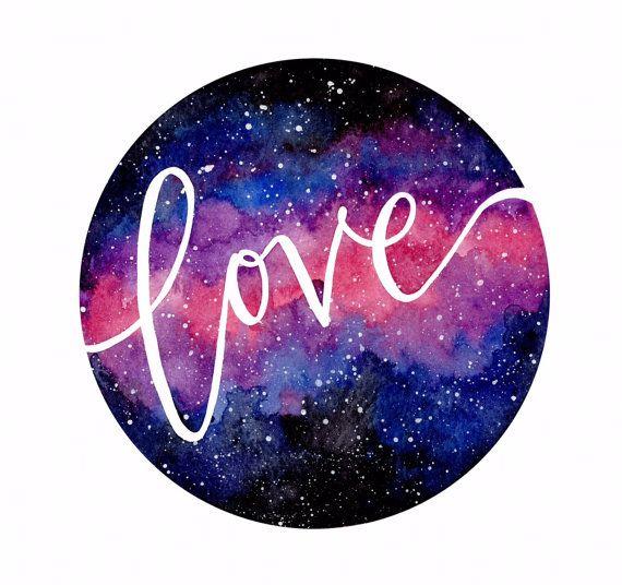 Watercolor Galaxy Love by StudioSocky on Etsy