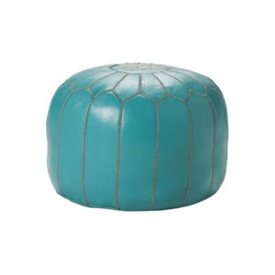 Turquoise Moroccan Leather Pouf| Serena & Lily