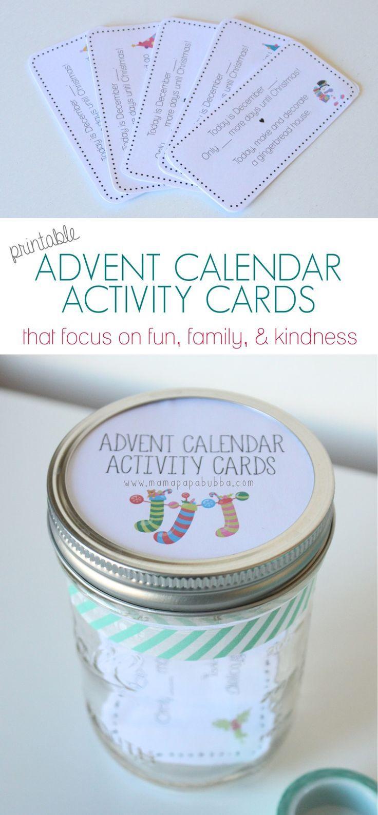 Printable Advent Calendar Activity Cards - Mama. Papa. Bubba.Mama. Papa. Bubba.