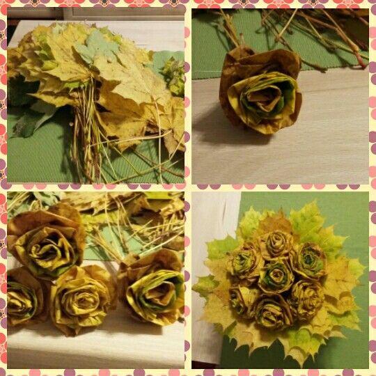 Őszi falevelekből rózsacsokor