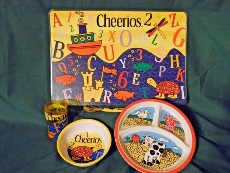 Vintage General Mills Childs 4 Piece Divided Dish Set  w/reversible Place Mat #GeneralMillsCherios