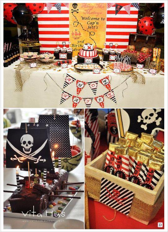 anniversaire_garçon_pirates_candy_bar_lingot or gateau bateau