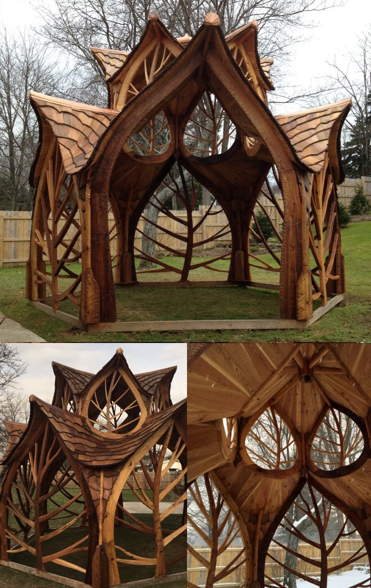 This looks like an elvish gazebo! It's stunning and was created for weddings. Absolutely love the leaf patterns! http://creativecarpentryco.com/gallery.html