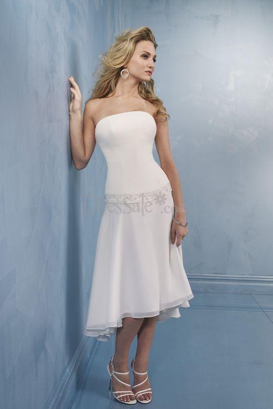 Wedding dresses high low hemline junoir bridesmaid dresses for High low wedding dresses for sale