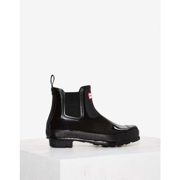 Hunter Original Chelsea Patent Rain Boot (450 PEN) ❤ liked on Polyvore featuring shoes, boots, black, rubber boots, wellies boots, patent leather boots, rain boots and black rain boots