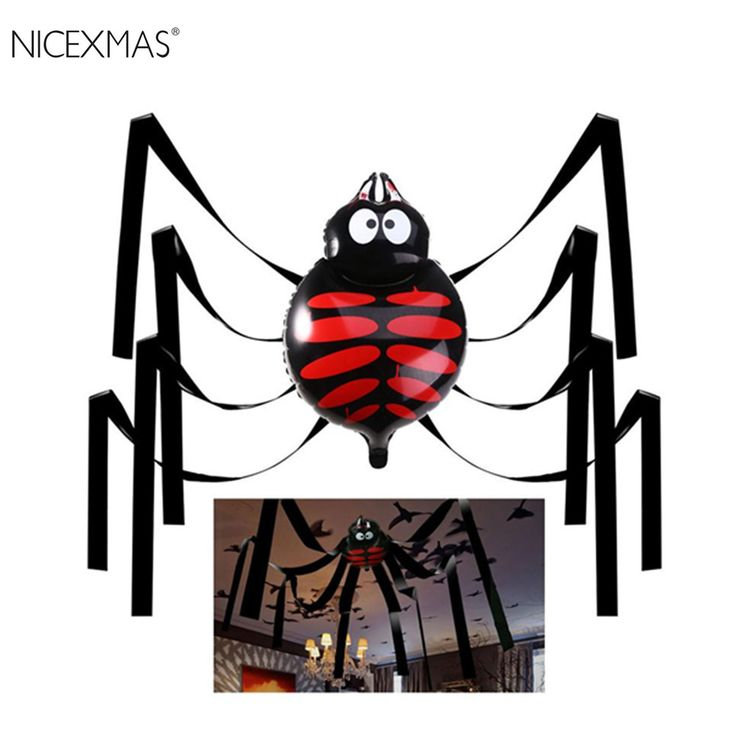 NICEXMAS Halloween Giant Spider Party Decorations Foil Balloons Halloween Spider Web Balls Happy Halloween Supply #Affiliate