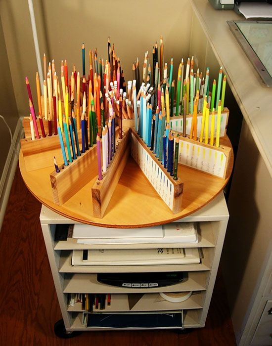"""studioffice-pencil-cart (Cart made from cabinet without a door, adding shelves and wheels.  Colored Pencil """"Lazy Susan"""" was added to the top).  ~In My Own Style~  I LOVE IT!"""