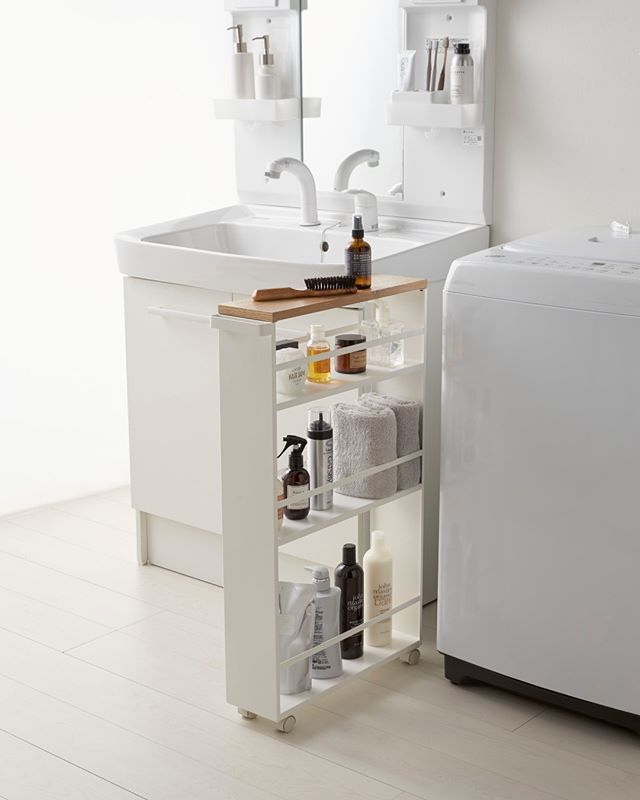 That Small Gap In Your House Is Calling Yamazaki Tower Rolling Slim Storage Cart With Handle Yamazakih Small Bathroom Storage Bathroom Storage Storage Cart