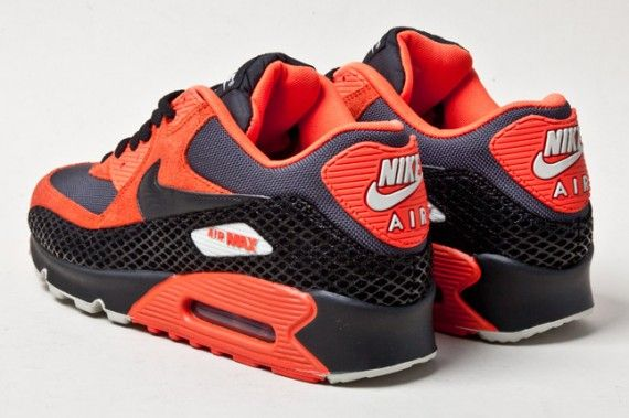 "Black snake skin material. Dope.   Nike Air Max 90 Premium ""Snake"" – Team Orange – Black"