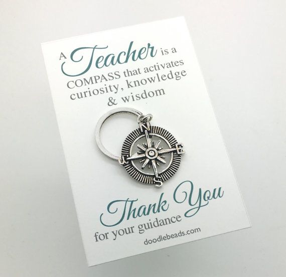 Male Teacher gifts - Silver Compass Key Ring - Teacher appreciation carded gift with message - mentor gift, gift for professor