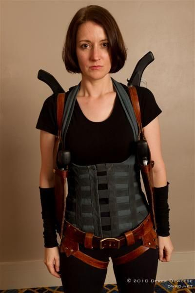A Zombie Hunter Costume With Two Back Mounted Sawed Off Shotguns.. Bonus -- hubby can be a zombie! 0:)