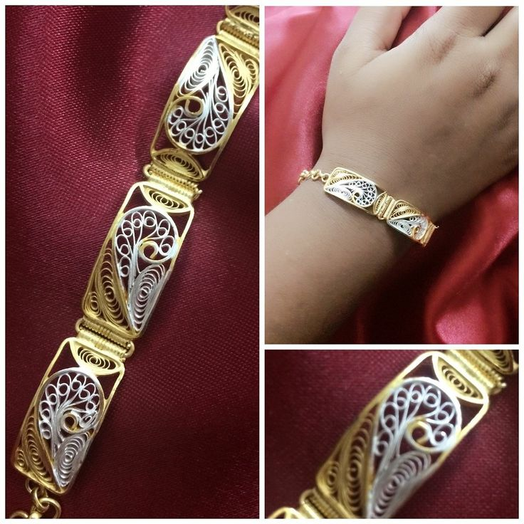 Golden plated Silver Filigree Bracelet handmade in Cuttack by Silver Linings