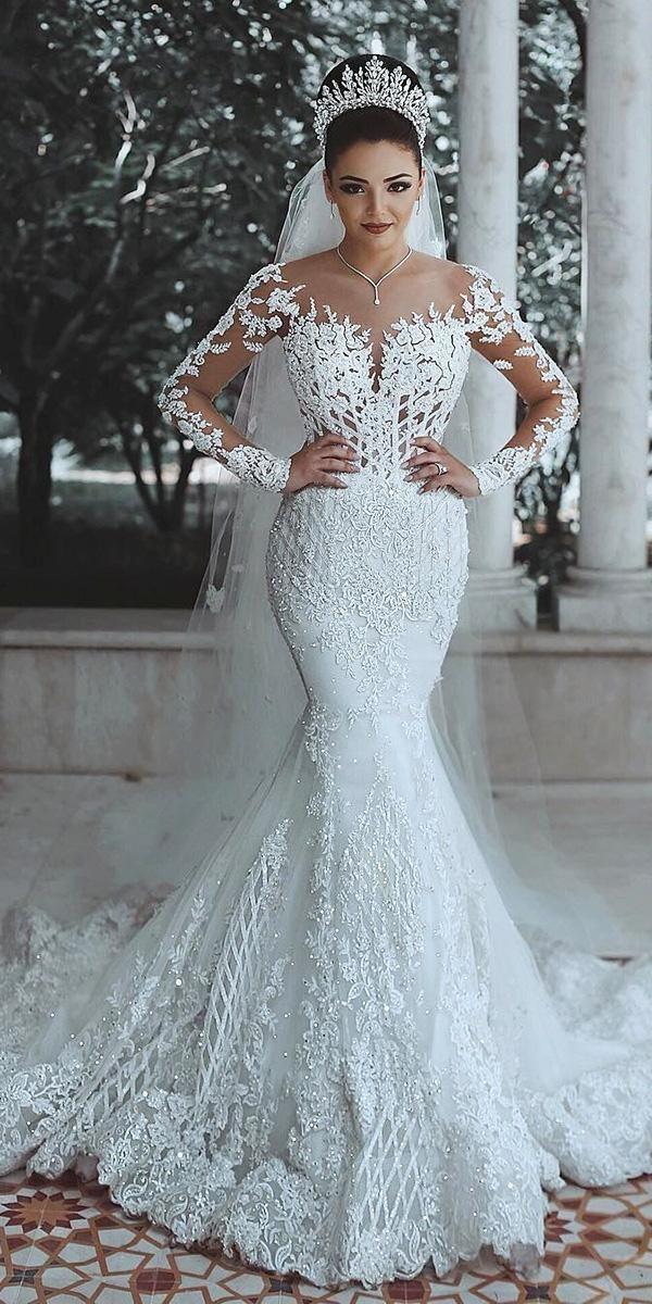 24 Trumpet Wedding Dresses That Are Fancy Romantic Wedding Dresses Guide Long Sleeve Mermaid Wedding Dress Lace Mermaid Wedding Dress Bridal Gowns Mermaid