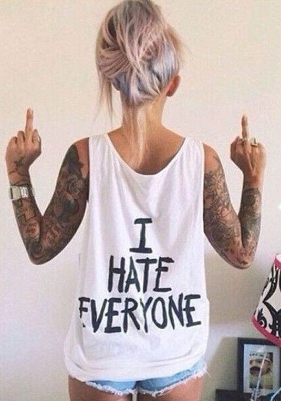 White Monogram I HATE EVERYONE Print Shoulder-Strap Round Neck Loose Cheap Streetwear Vest