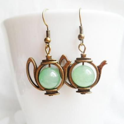 Quirky brass teapot earrings