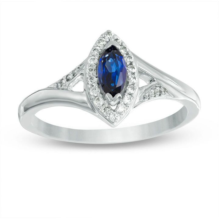 Zales Lab-Created Blue Sapphire and 1/10 CT. T.w. Diamond Split Shank Bridal Set in Sterling Silver RFFUQoITuV