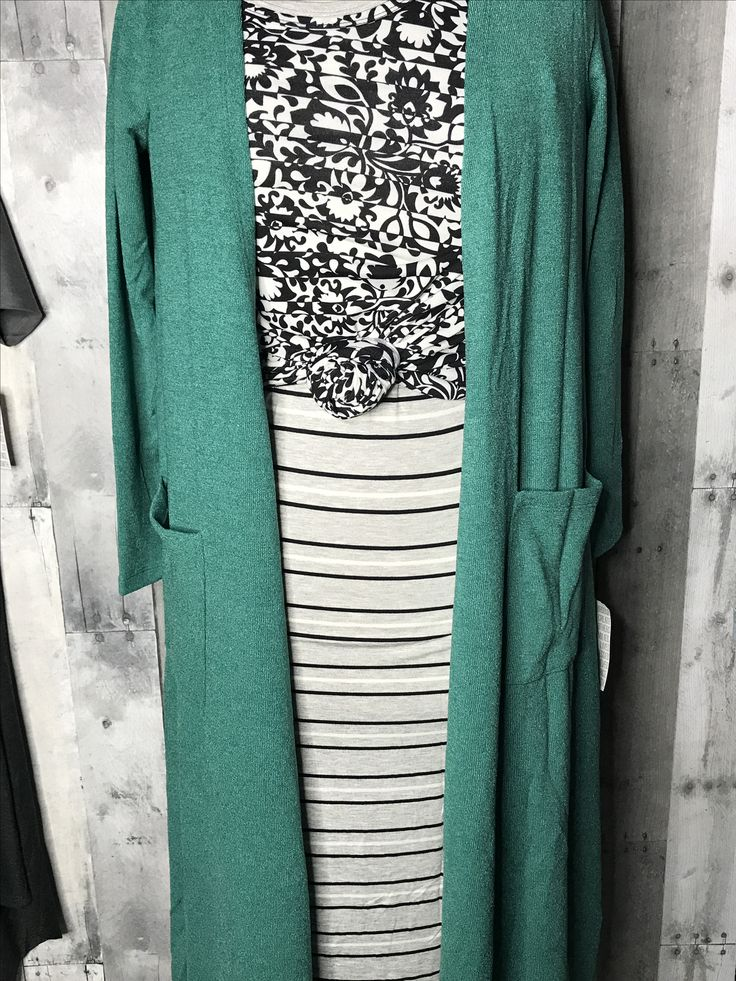 LuLaRoee Sarah cardigan + LuLaRoe Lynnae long-sleeved shirt + LuLaRoe Julia dress...black and white with a pop of color, with some subtle pattern-mixing =