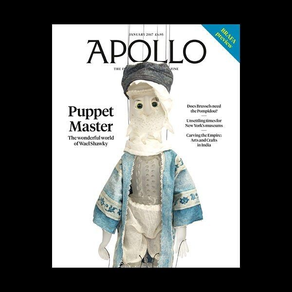 The January 2017 issue of Apollo is here! Featuring an exclusive interview with Egyptian video artist Wael Shawky as well as essays on Lockwood Kipling Ghents Museum of Fine Arts and the challenges ahead for New Yorks museums. Sir Angus Grossart tells Susan Moore about his dedication to Scottish art and on the eve of her UK retrospective Lubaina Himid speaks to Imelda Barnard. Plus: a preview of BRAFA art fair the Pompidou in Brussels Matthew Sperling on Peter Doig and Derek Walcott and…