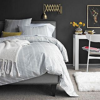 dark gray bedroom by Mudrick, via Flickr - <3 except for the light fixture