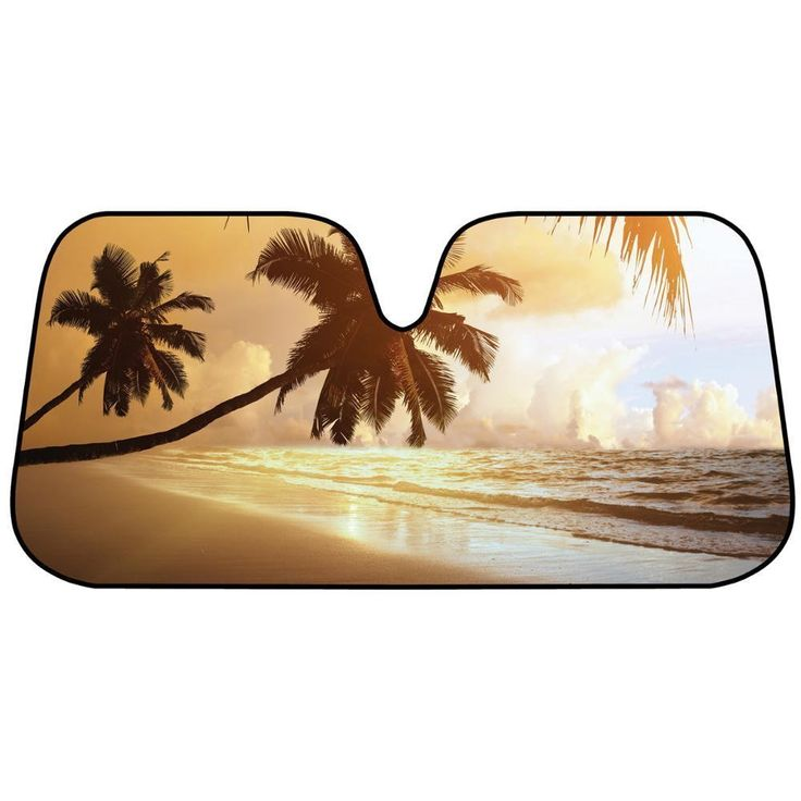 Beach Sunset tone Foil Bubble Folding Auto Windshield Sun Shade